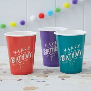 "Kraft Party -  ""Happy Birthday"" paper cups - pack of 8"